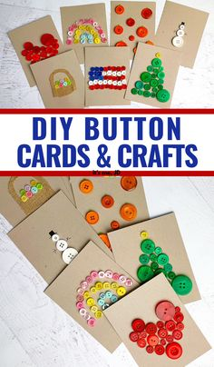 DIY Button Cards and Paper Crafts, easy handmade holiday greeting cards using buttons Easy Diy Crafts, Diy Craft Projects, Crafts To Make, Fun Crafts, Crafts For Kids, Paper Crafts, Craft Ideas, Gift Card Presentation, Button Cards