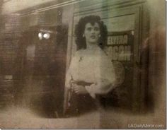"""Photo: Elizabeth Short and a poster reading """"Elvira"""" on display at the Los Angeles Police Historical Society. The Black Dahlia Murder, Bonnie N Clyde, Dark Photography, Historical Society, American Horror Story, Famous Faces, Macabre, Old Hollywood, Creepy"""