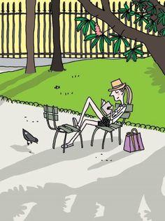 Primavera, parque, descanso, lectura: genial plan para el fin de semana (ilustración de Soledad Bravi)