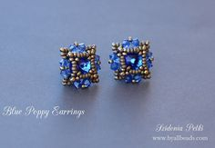 Beaded Post Earrings Tutorial - Beaded Stud Earrings - 8mm rivoli bezel - PDF pattern - Digital Download
