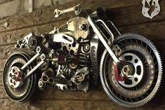 Motorcycle Sculpture 3D Metal Art Harley Davidson Indian | Etsy Harley Davidson Art, Metal Art Projects, Scrap Metal Art, Junk Art, Motorcycle Art, Vintage Iron, Metal Artwork, Cool Inventions, Sculpture