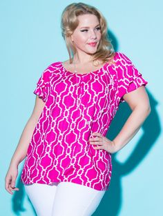 The plus size Ricki Top. I LOVE the Escapada brand! 100% high quality woven rayon tops mean they will look crisp, drape well and keep you COOL!... and all exclusively in plus sizes at lucyclothing.ca !
