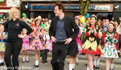 Michael Fassbender Irish dancing at a parade
