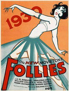 Vintage Poster - 1930 Fox Movie - The New Movietone Follies - Dancing - Showgirl - Burlesque