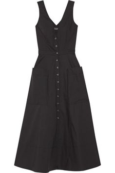 Saloni - Zoey Cutout Stretch-cotton Poplin Midi Dress - Black - UK6