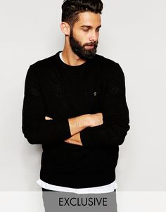 """Jumper by Farah Mid-weight, warm knit Crew neck Ribbed trims Embroidered logo Fitted cuffs and hem Regular fit - true to size Machine wash 100% Lambs Wool Our model wears a size Medium and is 181cm/5'11.5"""" tall"""