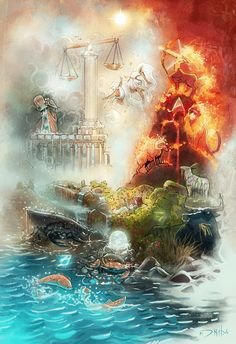 The 4 elements of the Zodiac Art Print by Michael Jared DiMotta Illustrations - X-Small 5 Elements Of Nature, Classical Elements, Amazing Drawings, Art Drawings, Zodiac Signs Elements, Elemental Magic, Elemental Powers, Zodiac Art, 12 Zodiac