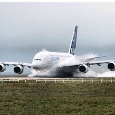 Water on the runway with A-380.