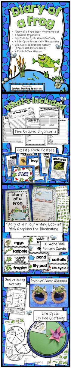 """Diary of a Frog --- Frog Life Cycle Book Writing Project and More --- Exploring Perspective! This set contains a """"Diary of a Frog"""" book writing project, 5 graphic organizers, 6 life cycle posters with photographs, 4 point-of-view glasses, 10 word wall picture cards, life cycle sequencing activity and a lily pad life cycle craftivity."""
