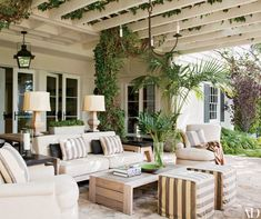 Hank Azaria's Colonial Bel Air Home Outdoor Patio Photos | Architectural Digest