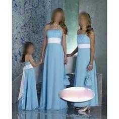 a-line light blue bridesmaid dresses with white sash Light Blue Bridesmaid Dresses, Bridesmaid Dresses Under 100, Blue Wedding Dresses, Prom Party Dresses, Ball Dresses, Blue Bridesmaids, Dress Prom, Bridesmaid Ideas, Chiffon Dresses