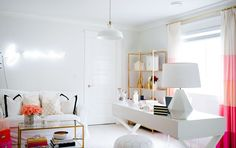 love this fresh white + gold + pink room!
