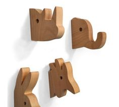 Wooden animal hangers by Julee Vee would this work for your idea? Wood Projects, Woodworking Projects, Woodworking Organization, Intarsia Woodworking, Woodworking Clamps, Wood Crafts, Diy And Crafts, Wooden Animals, Wood Toys