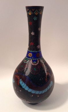 Antique Chinese Cloisonne Vase - Bottle Form - Dragon and Flowers - China