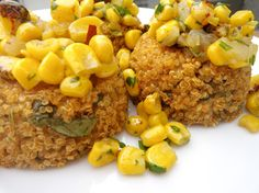 Baked Quinoa cakes in muffin tins with Spicy Corn Relish