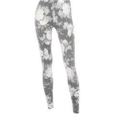 Beige print legging ($29) ❤ liked on Polyvore