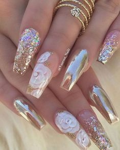 Exotic Nail Designs Collection coffin nail art designs latest coffin nail art styles that Exotic Nail Designs. Here is Exotic Nail Designs Collection for you. Exotic Nail Designs 8 exotic nail art design with glitter rhinestones in Ex. Glam Nails, Cute Nails, Pretty Nails, My Nails, Glitter Nails, Fancy Nails, Gold Glitter, Nail Art Designs, Cute Acrylic Nail Designs