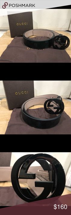 11b705083dc Authentic Men s Gucci Belt Black Imprime Shiny Made in Italy 100 percent  authentic Msrp 375!