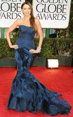 SOFIA VERGARA  Talk about va-va voom! No stranger to the if-you've-got-it-flaunt-it approach to dressing, the bombshell played up her covetable curves in a form-fitting strapless Vera Wang gown at the 2012 Golden Globes. Aside from perfectly hugging every curve on her body in the right place, the dress helped balance the star's hourglass figure with its fabulously flared mermaid tail.