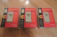 LOT OF 3 Pass Seymour Trademaster Slide Dimmer Single Pole Push Button IVORY #PassSeymourLegrand