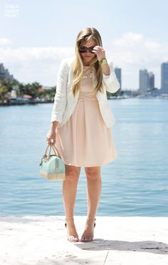 Styled! *pink Loft or blush CK dress + white pinstripe blazer + white AT kitten heel pumps + ivanka bag OR blush silk blouse + white skirt (midi or pencil) + pastel/ light blue bag + nude pumps // Living In Color Print