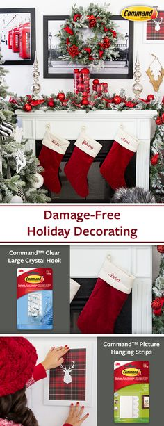 Decorate for the holidays with command™ brand clear crystal hook and command™ brand picture hanging strips to let your décor shine go all out decorating the mantle and more this holiday season and take it down damage free after the holidays damagefree Christmas Fireplace, Christmas Mantels, Noel Christmas, Rustic Christmas, Christmas Projects, Winter Christmas, Christmas Wreaths, Christmas Ideas, Christmas Tree Decorations