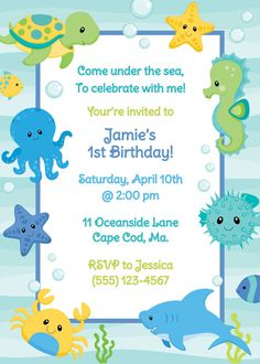 Under The Sea Birthday Invitation Boy by AnchorBlueDesign on Etsy, $10.00