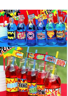 SUPER HERO Bottle Labels or Straw Flags- Superheroes Party for Spiderman, Batman and Superman  - Krown Kreations. $3.99, via Etsy.