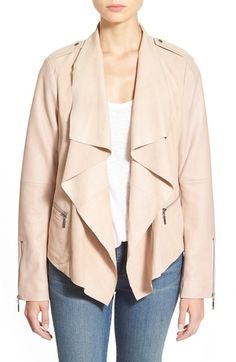 Bernardo Drape Front Suede & Leather Jacket available at #Nordstrom