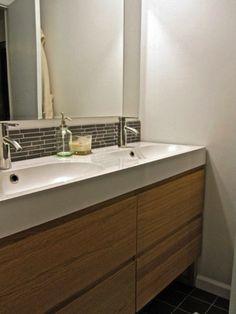 Ikea godmorgon cabinet and ikea sink Blue Bathroom Decor, Family Bathroom, Master Bathroom, Bathroom Ideas, Simple Bathroom, Bath Decor, Bath Ideas, Small Bathroom Inspiration, Bad Inspiration