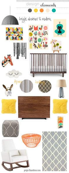 bright abstract and modern nursery inspiration with the Joya rocker! Baby Room Decor, Nursery Room, Girl Nursery, Girl Room, Kids Bedroom, Nursery Decor, Nursery Ideas, Room Ideas, Inspiration Design