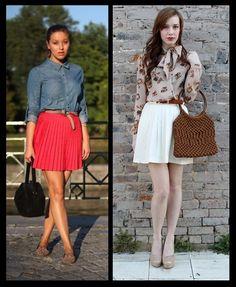 Saia Rodada plissada_looks moda inspiração_camisa estampada_saia jeans