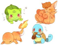 Bulbasaur, Charmander, Squirtle, and Vulpix
