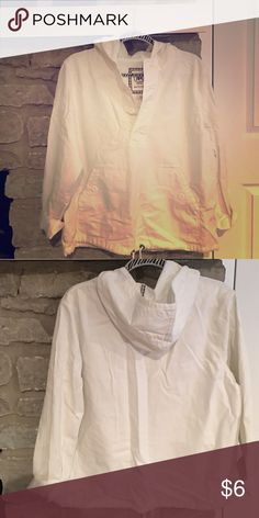 Pullover jacket White, hooded, 4 button jacket with draw string at bottom. Merona Jackets & Coats