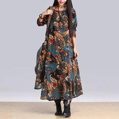Cheap vestido feminino, Buy Quality loose long dresses directly from China long dress Suppliers: 2016 hot retail autumn style cotton linen vintage print plus size women casual loose long dress party vestidos femininos Vestido Maxi Floral, Vestido Casual, Dress Casual, Casual Chic, Vintage Long Dress, Vintage Dresses, Folk Fashion, Autumn Fashion, Asian Fashion