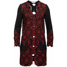 JIRI KALFAR - Red Lace Jacket (€585) ❤ liked on Polyvore featuring men's fashion, men's clothing, men's outerwear, men's jackets, men's embroidered bomber jacket and mens red jacket