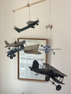 Military Airplane Nursery Mobile w/ Antique Metal Airplanes Neutral Colors Aviation nursery room mob