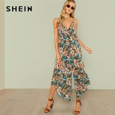 99a387c38f0a SHEIN Multicolor Vacation Backless Boho Bohemian Beach Tropical Leaf Print  Curved Hem Cami Jumpsuit Summer Women Sexy Jumpsuit