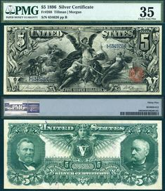 """1896 $5 Silver Certificate FR-268 """"Educational Note"""" PMG Graded VF35 CAA 9-2015 UCIRRR"""