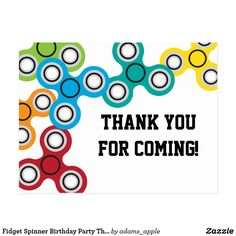 Fidget Spinner Birthday Party Thank You Postcard. These also make an inexpensive invitation.