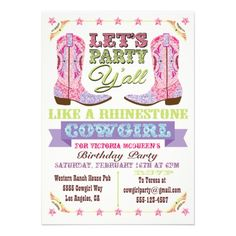 Let's party western rhinestone cowgirl style with these super cute cowboy boot birthday party invitations with pretty pink and purple faux rhinestones boots and graphics done in a poster style. Such a fun theme for the girl's to get together!