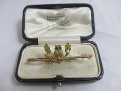 2 colour 9k gold owl bird brooch pin antique victorian c1890 boxed tbj00375