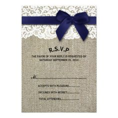 ==>>Big Save on          	Burlap & Lace :: Faux Navy & Bow Ribbon- RSVP Custom Invitations           	Burlap & Lace :: Faux Navy & Bow Ribbon- RSVP Custom Invitations We have the best promotion for you and if you are interested in the related item or need more information reviews...Cleck Hot Deals >>> http://www.zazzle.com/burlap_lace_faux_navy_bow_ribbon_rsvp_invitation-161583886367251331?rf=238627982471231924&zbar=1&tc=terrest