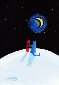 Russian Blue Cat Snowboard Folk art print of Todd Young painting The Hill by ToddYoungArt on Etsy https://www.etsy.com/listing/117409534/russian-blue-cat-snowboard-folk-art