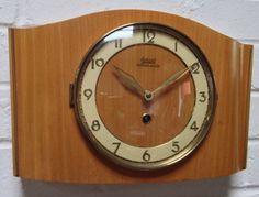 Vintage Retro 1950s German Garant Wooden Wall Clock & key 8 day Movement FWO