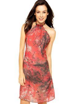 Vestido Carmim Frente Única Emma Print vermelho