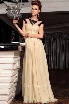 lemon beaded illusion boat neck cap sleeve a line long formal dress