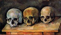 La nature morte aux trois crânes de Paul Cézanne, 1900. L'oeuvre de Cézanne est indissociable de sa Provence natale, les natures mortes de Cézanne étaient incomprises en leur temps mais sont ensuite devenues un des traits caractéristique de son génie. Il est possible de visiter son atelier sur Aix en Provence, une ville qui définit parfaitement la Provence et la culture de l'Art.