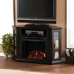 Claremont Convertible Media Electric Fireplace, Black
