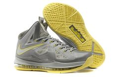 Nike LeBron X + Men's Basketball Shoe 598360 007 Grey/Yellow